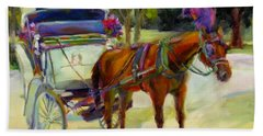 Hand Towel featuring the painting A Ride Through Central Park by Chris Brandley