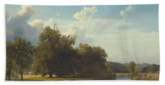 A River Landscape Westphalia Bath Towel