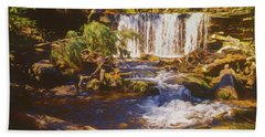 A Rugged Scene Of A Small Waterfall Bath Towel