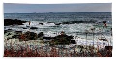 Hand Towel featuring the photograph A Shoreline In New England by Tom Prendergast
