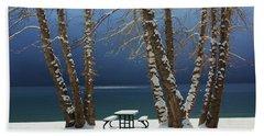 A Simple Winter Scene Bath Towel by Sean Sarsfield