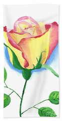 Hand Towel featuring the painting A Single Rose by Rodney Campbell