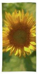 A  Single Sunflower Blossom Bath Towel