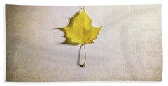 A Single Yellow Maple Leaf Bath Towel