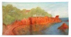 A Small Inlet Bay With Red Orange Rocks Hand Towel