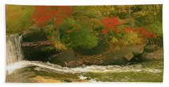 A Small Waterfall Surrounded By Bright Fall Color. Bath Towel