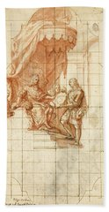 A Soldier Presenting A Map To A Seated King Hand Towel