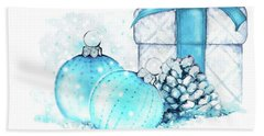 Hand Towel featuring the painting A Sparkly Blue Christmas by Heidi Kriel