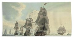 A Squadron Of The Royal Navy Running Down The Channel And An East Indiaman Preparing To Sail Hand Towel