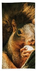 A Squirrel And His Nut Bath Towel by Joni Eskridge