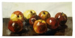 A Still Life Of Apples Hand Towel by Lesser Ury