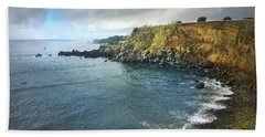 A Storm Brewing Over The Eastern Shoreline Cliffs Of Angra Do Heroismo Terceira Bath Towel