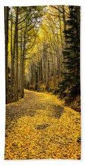 A Stroll Among The Golden Aspens  Bath Towel