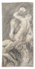 A Study Of Rodin's Kiss In His Studio Bath Towel