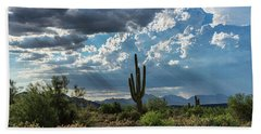 Hand Towel featuring the photograph A Summer Day In The Sonoran  by Saija Lehtonen