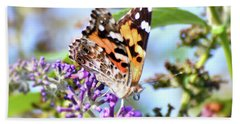 Bath Towel featuring the photograph A Summer Lady - Painted Lady Butterfly by Kerri Farley
