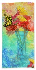 Hand Towel featuring the digital art A Summer Time Bouquet by Diane Schuster