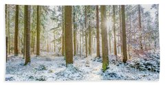Hand Towel featuring the photograph A Sunny Day In The Winter Forest by Hannes Cmarits