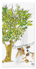 A Texas Welcome Texas Longhorn Under A Live Oak Tree Watercolor Painting By Kmcelwaine Hand Towel