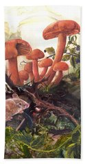 Hand Towel featuring the painting A Thorny Situation by Sherry Shipley