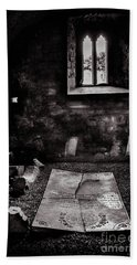 Hand Towel featuring the photograph A Tombstone In Sligo Abbey Bw by RicardMN Photography