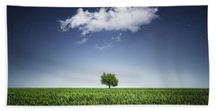 A Tree Covered With Cloud Bath Towel by Bess Hamiti
