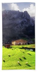 A Typical Basque Country Farmhouse With Sheep Hand Towel