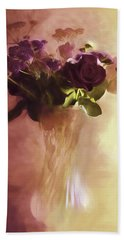 Hand Towel featuring the photograph A Vase Of Flowers Touched By The Morning Sun by Diane Schuster