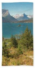 A Vertical Art Photograph Of Wild Goose Island Glacier Nat. Park Bath Towel
