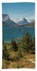 A Vertical Photgraph Of Wid Goose Island Glacier Nat. Park Bath Towel