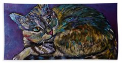 A Very Colorful Cat Hand Towel by Reb Frost