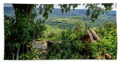 A View From Groznjan Of The Istrian Hill Town Countryside, Istria, Croatia Bath Towel