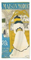A Vintage Poster Advertising The Parisian Art Gallery La Maison Moderne Hand Towel