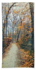 A Walk In November Bath Towel by John Rivera