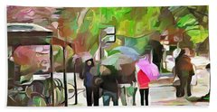 Hand Towel featuring the painting A Walk In The Rain by Wayne Pascall