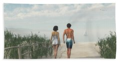 A Walk In The Sand Dunes Bath Towel by Jayne Wilson