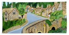 Bath Towel featuring the painting A Walk Through A Village In The English Cotswolds by Magdalena Frohnsdorff