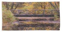 A Walking Bridge Reflection On Peaceful Flowing Water. Bath Towel