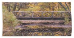 A Walking Bridge Reflection On Peaceful Flowing Water. Hand Towel