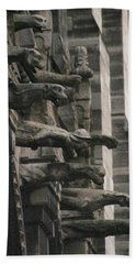 A Wall Of Gargoyles Notre Dame Cathedral Bath Towel