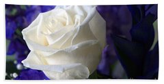 A White Rose Bath Towel by Sharon Talson