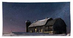 A Winter Night On The Farm Bath Towel by Judy Johnson