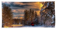 A Winter Sunset Bath Towel by David Patterson