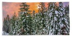 A Winters Sky Set Ablaze Hand Towel