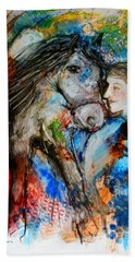 A Woman And Her Horse Bath Towel
