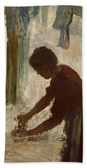 Hand Towel featuring the painting A Woman Ironing by Edgar Degas