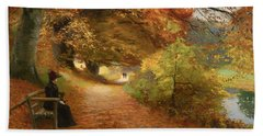 A Wooded Path In Autumn Bath Towel