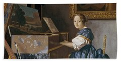 A Young Lady Seated At A Virginal Hand Towel