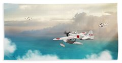Bath Towel featuring the digital art A6m2-n Sea Plane by John Wills