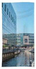 Hand Towel featuring the photograph Aarhus Lunchtime Canal Scene by Antony McAulay